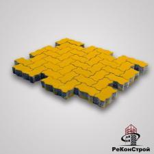 Тротуарная вибропрессованная плитка Волна, Желтый, BRAER
