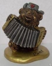 """Сувенир """"Медведь с гармошкой""""№1(на тонкой подставке)"""