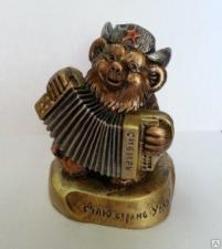"""Сувенир """"Медведь с гармошкой""""№2(на толстой подставке"""