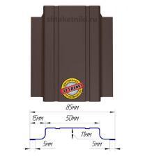 Металлический штакетник (евроштакетник) узкий 85мм двухсторонний 8017 Шоколад