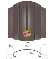 Металлический штакетник (евроштакетник) полукруглый 110мм двухсторонний RAL 8017 Шоколад
