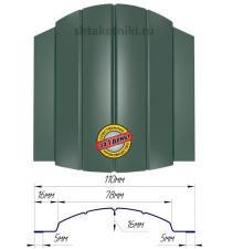 Металлический штакетник (евроштакетник) полукруглый 110мм двухсторонний RAL 6005 Зеленый Мох
