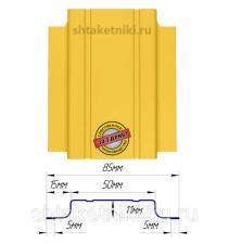 Металлический штакетник (евроштакетник) узкий 85мм RAL 1018 Желтый