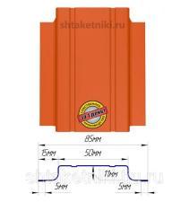 Металлический штакетник (евроштакетник) узкий 85мм RAL 2004 Апельсин