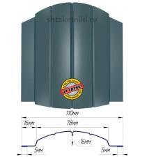 Металлический штакетник (евроштакетник) полукруглый 110мм RAL 5020 Синий Океан