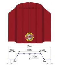 Металлический штакетник (евроштакетник) широкий 115мм RAL 3003 Рубин