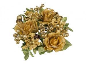 Венок на шампанское розы/гортензии/ягоды золото диаметр=20 см. Huajing Plastic (864-028)