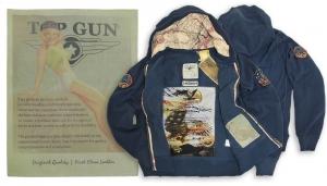 Синяя толстовка ''Vintage Aviation Fur Top Gun Zip-Up Military Patches'' #TGD1007N