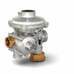 Бытовые регуляторы давления газа РС комбинированного типа, исполнение угловое снизу-вверх. Со встроенными предохранительно-сбросным и предохранительно-запорным клапанами