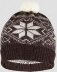 Шапка детская Norveg цвет коричневый с белыми снежинками (текстильный помпон) 7CWU-018 (15349)