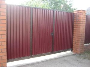 Откатные ворота, навес, забор из профнастила
