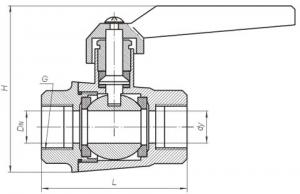 Краны шаровые муфтовые Ду 15-25, Ру 1,6МПа