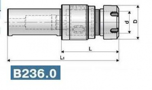 Патрон резьбонарезной с цилиндрическим хвостовиком, вылет 80-85, цанга 25-32 ER.T