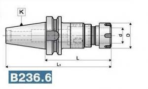 Патрон резьбонарезной с хвостовиком по MAS 403 BT, конус 40-50, вылет 110-130, цанги 25-32 ER.T