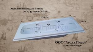 Акриловый вкладыш в чугунную ванну 1.7 эллипс глубиной 45 см, реставрация ванн