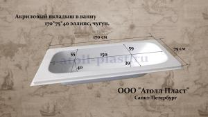 Акриловый вкладыш в чугунную ванну 1.7 эллипс глубиной 40 см, реставрация ванн