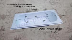 Акриловый вкладыш в стальную ванну 1.7 эллипс глубиной 38 см, ванна-вкладыш