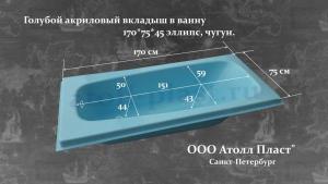 Голубой акриловый вкладыш в ванну 1.7 эллипс глубиной 45 см, реставрация ванн