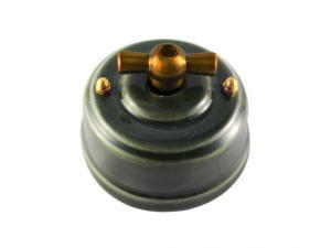 Выключатель фарфоровый поворотный одноклавишный, цвет grigio (серый), ручка бронза