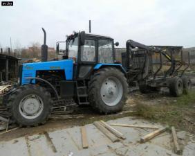 трактормтз 1221 с лесовозным прицепом