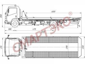Эвакуатор со сдвижной платформой грузоподъемностью до 3 тонн Isuzu NQR 75L-L