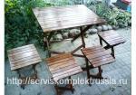 Набор из складного стола и четырех стульев массив сосны
