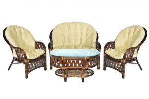 """Комплект """"Копакобама"""" диван + 2 кресла + овальный стол (Темный орех)"""