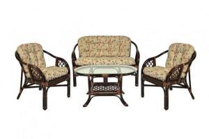 Комплект мебели Гавана из ротанга, 2 кресла+диван+стол (Темно-коричневый)
