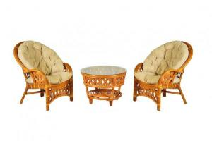 """Комплект мебели """"Копакобама"""" из ротанга, 2 кресла+круглый стол (Темный мед)"""