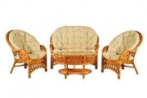 """Комплект """"Копакобама"""" диван + 2 кресла + овальный стол (Темный Мед)"""