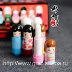 ГИГИЕНИЧЕСКАЯ ПОМАДА-БАЛЬЗАМ для губ с фруктовыми ароматами.Японская кукла