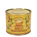 Мясо цыпленка в собственном соку ТОЛЬКО ОПТОМ Царская курочка (525 гр.)
