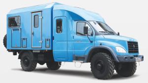 """ГАЗ-33081 """"Тайга"""" с двухрядной 7-местной кабиной и спецфургоном-автомастерской"""