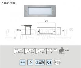Подсветка ступенек, пола, стен. Встраиваемый LED светильник A04B