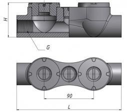 Коробка взрывозащищенная чугунная литая КПЛ-25 У1 (проходная локальная)