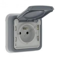 Розетка с крышкой и со шторками IP55 - Plexo