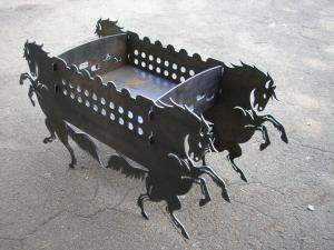 """Декоративный раскладной мангал """"Лошади"""""""