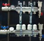 Блок коллекторный 1 х3/4 х 4 с расходомерами, термометрами, отсечными кранами, воздхоотводчиками и дренажом.