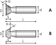 Фрезы угловые с цилиндрическим хвостовиком для обработки сегментных шпонок Carmon TCL60 DIN 1833 A-B