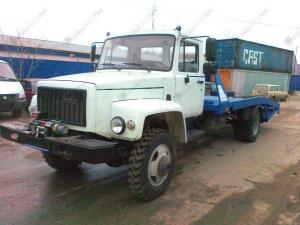 Полноприводный эвакуатор ГАЗ-33086 Земляк с ломаной платформой