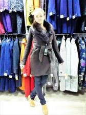 Пальто зимнее женское - воротник песец