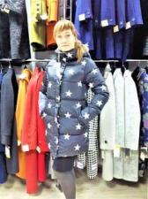 Зимняя женская куртка, цвет чёрный со звёздами
