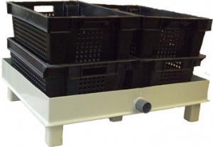 Поддон с ящиками для сбора и сушки птицы после охлаждения