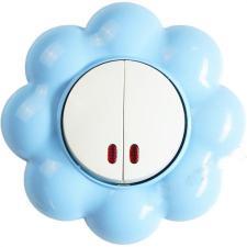 none Выключатель двухклавишный с индикатором Цветок бело-голубой